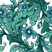 Zelený květinový vzor bezešvé s květinami — Stock vektor