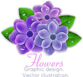 Blue and purple flowers with leaves — Stockvector