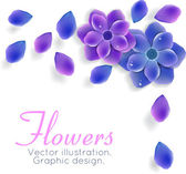 Blue and purple flowers with leaves — Stock Vector