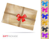 Gift package of old paper with a bow — Stock Vector