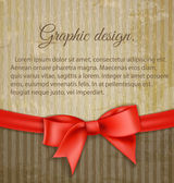 Vintage grungy background with red bow — Vettoriale Stock