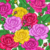 Seamless floral pattern with roses — Stock Vector