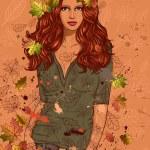 秋天的叶子的女孩 — 图库矢量图片 #6933785