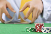 Shuffling a deck of cards — Stock Photo