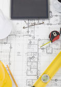 Architectural plan close up — Stock Photo