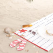 Beach items on sand for fun summer holiday — Stock Photo