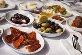 Close up to classic Turkish style breakfast food plates — Stock Photo