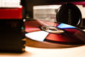 DVD disk on the table, macro shoot — Stockfoto
