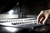 Audio mixer and hand — Stock Photo