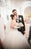 Newly married couple in orthodox church — Stock Photo