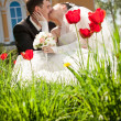 Stock Photo: Newly married couple kissing on flowerbed