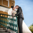 Married couple standing on stairs and kissing — Stock Photo