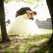 Married couple dancing and kissing in park — Stock Photo