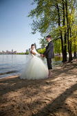 Newly married couple walking on beach near river — Stock Photo