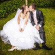 Married couple sitting on lawn under tree and kissing — Stock Photo