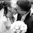 Portrait of bride and groom kissing outdoors — Stock Photo