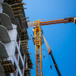 Big yellow building crane — Stock Photo