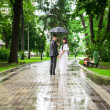 Newly married couple walking under umbrella in rain — Stock Photo #33374339