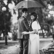 Married couple standing in park under umbrella — Stock Photo #33374349