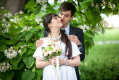 Married couple hugging under tree at summer — Stock Photo