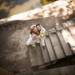Newly married couple standing on embankment — Stock Photo