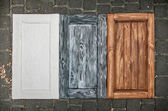 Painted wooden doors from cupboards — Stock Photo
