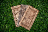 Wooden doors lying on grass in park — Stock Photo