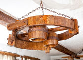 Big round lamp hanging on chains — Foto de Stock