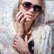 Portrait of sexy blonde girl in sunglasses — Stock Photo