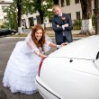 Bride pushing car while groom looking at her — Stock Photo