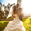 Bride and groom hugging on meadow at sun rays — Stock Photo