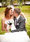 Manželé objímání a mluví na zeleném trávníku v parku — Stock fotografie