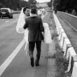 Strong groom walking on road and carrying bride on hands — Stock Photo