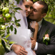 Portrait of handsome groom kissing bride under apple tree — Stock Photo #36791755
