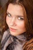Portrait of seductive redhead woman with big eyes — Stock Photo