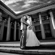 Just married couple hugging against building with columns — Stock Photo