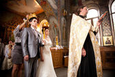 Russian traditional wedding in orthodox church — Stock Photo