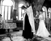 Photo of orthodox wedding ceremony in temple — Stock Photo