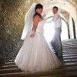 Newlywed couple coming up the stairs at old castle — Stock Photo #37455971