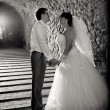 Photo of newlywed couple holding hands in old tunnel — Stock Photo #37455987
