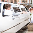 Bride pushing broken white limousine with groom on drivers seat — Stock Photo #37456079