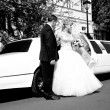 Black and white photo of bride and groom standing near limousine — Stock Photo #40639325