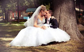 Young newly married couple sitting at park — Stock Photo