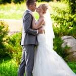 Handsome groom kissing blonde bride at park on lawn — Fotografia Stock  #41103859