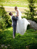 Noivo levantando a noiva linda alta no parque — Fotografia Stock