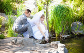 Married couple sitting on riverbank and touching water — Photo