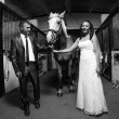 Photo of bride and groom holding horse by rein at stable — Photo