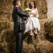 Married couple looking at each other at stable with stack of hay — Stock Photo #42117609