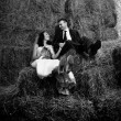 Shot of bride and groom sitting on stack of hay — Stock Photo