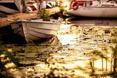 Closeup shot o vessel boat in port surrounded by water lilies — Stock Photo